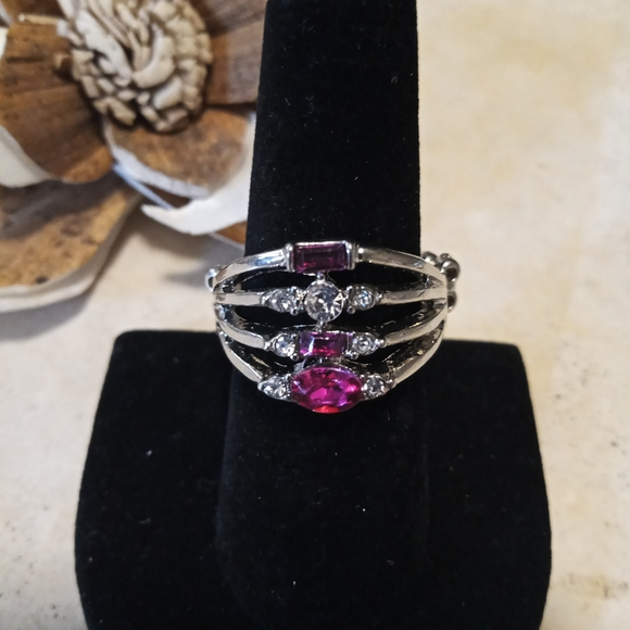 Paparazzi Ring/ pink and white cz
